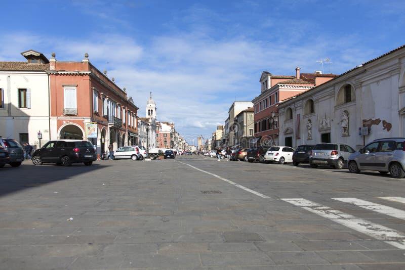 Chioggia Włochy, Luty, - 13, 2018: Historyczny centrum Chioggia Wenecja zdjęcie stock