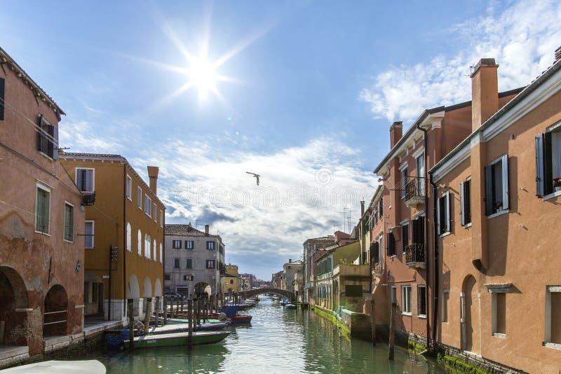 Chioggiastad in Venetiaanse lagune, waterkanaal en zon Veneto, Italië, Europa Historisch centrum van Chioggia Zonnige dag in Chio royalty-vrije stock foto