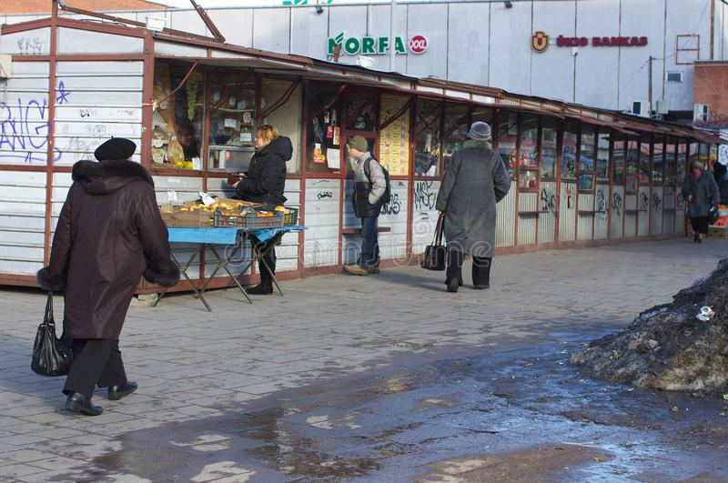 Chioschi del mercato in una via fotografie stock libere da diritti