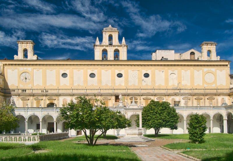 Chiostro重创在圣・马蒂诺,那不勒斯,意大利 免版税库存图片