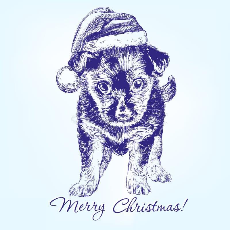 Chiot de Noël dans le chapeau de bas de Santa tiré par la main illustration stock