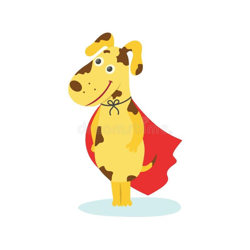 Chiot drôle, caractère de chien dans le cap rouge de super héros illustration libre de droits
