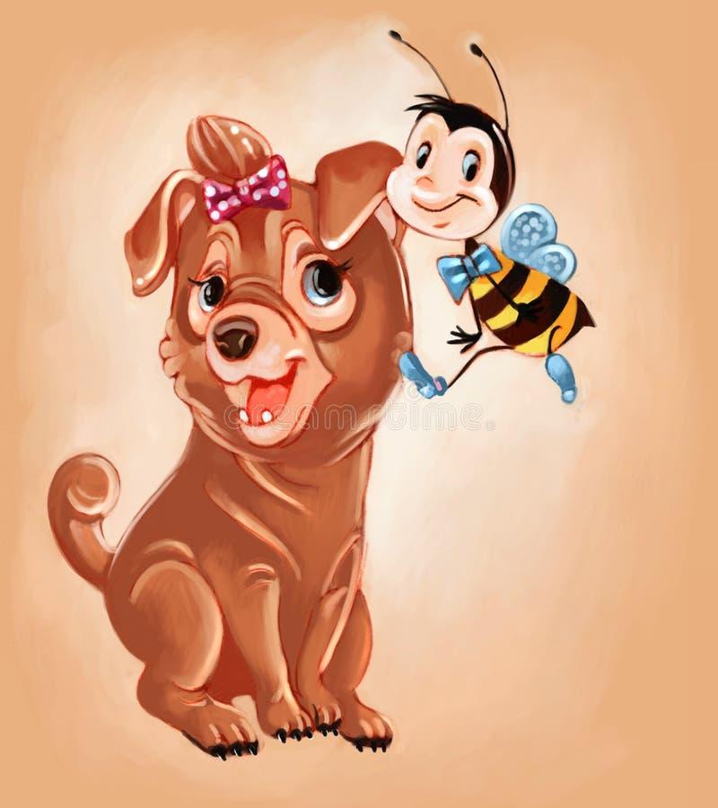 Chiot et abeille illustration libre de droits