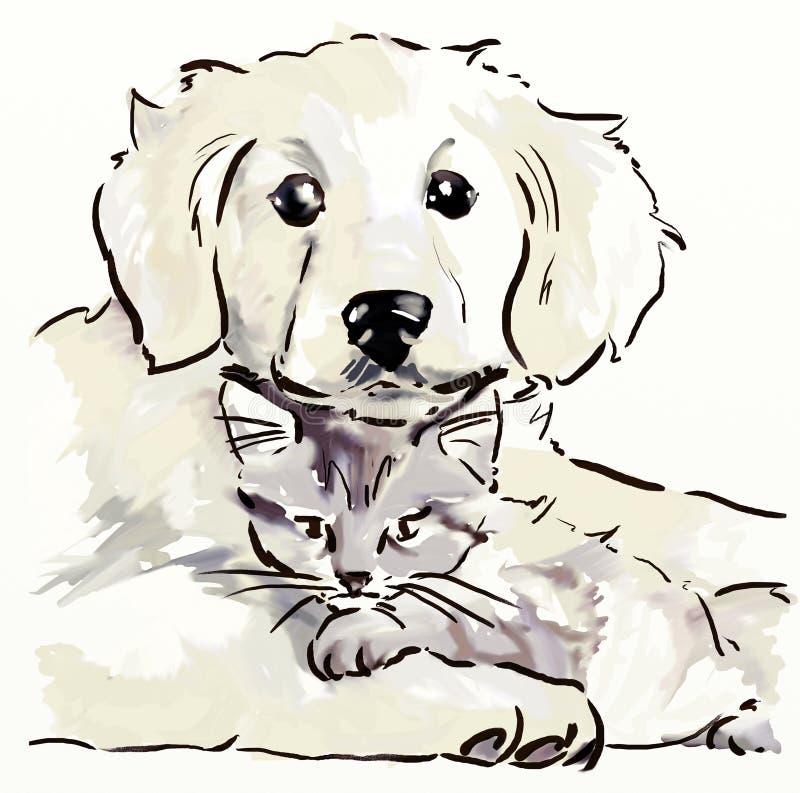 Chiot et chaton illustration libre de droits