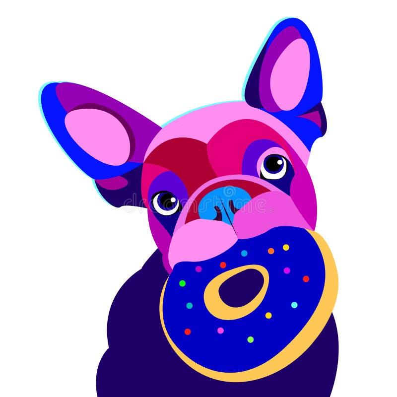 Chiot mignon de dessin de vecteur de chien de bouledogue d'illustration de race française animale d'animal familier photos libres de droits