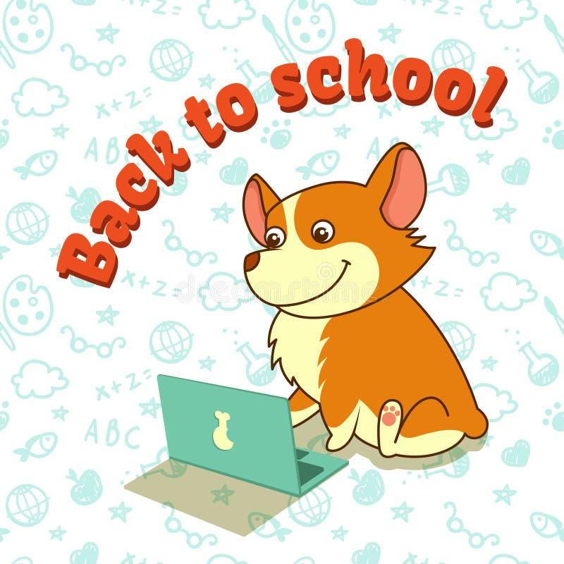 Chiot mignon du corgi de gallois apprenant avec l'ordinateur portable De nouveau à l'école Illustration de vecteur Pour des carte illustration de vecteur