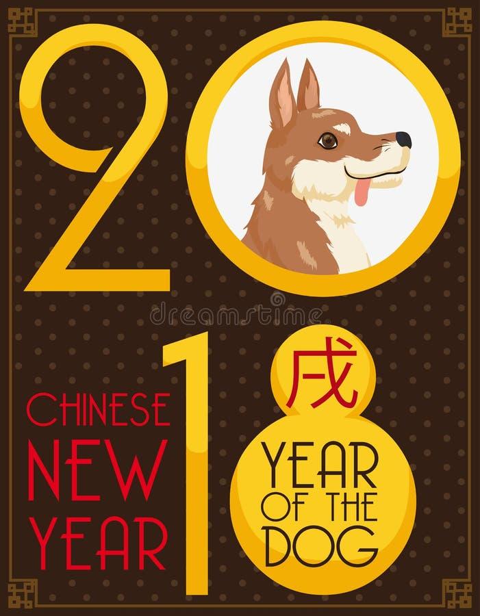 Chiot pendant la nouvelle année chinoise du chien en 2018, illustration de vecteur illustration libre de droits