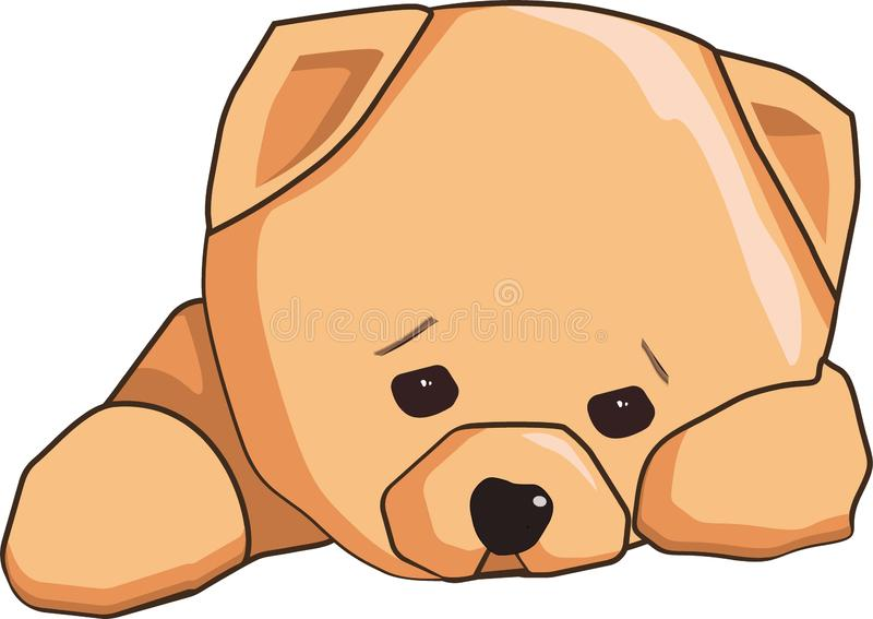 Chiot triste d'autocollant d'Emoji illustration libre de droits