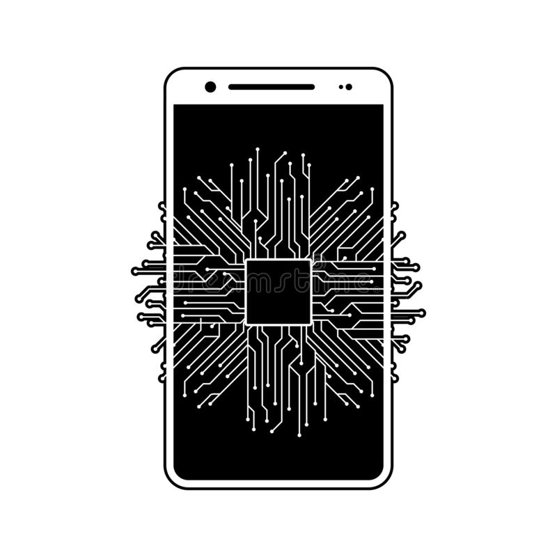 Chip, circuit, CPU, smartphone icon. Element of fingerprint for mobile concept and web apps icon. Glyph, flat icon for website. Design and development, app vector illustration