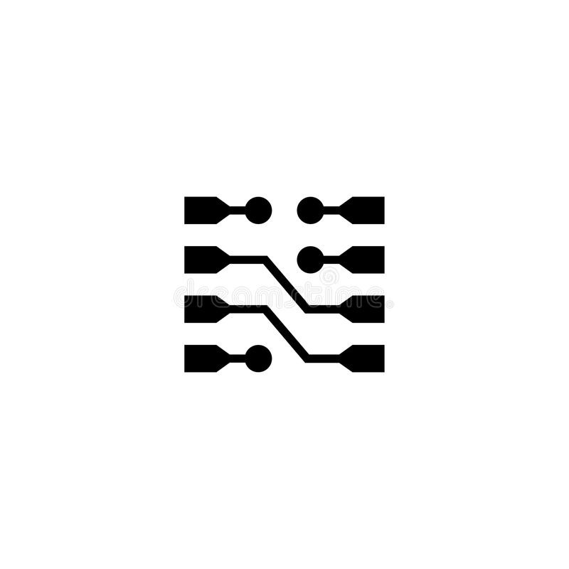 Chip Circuit Links Flat Vector symbol stock illustrationer
