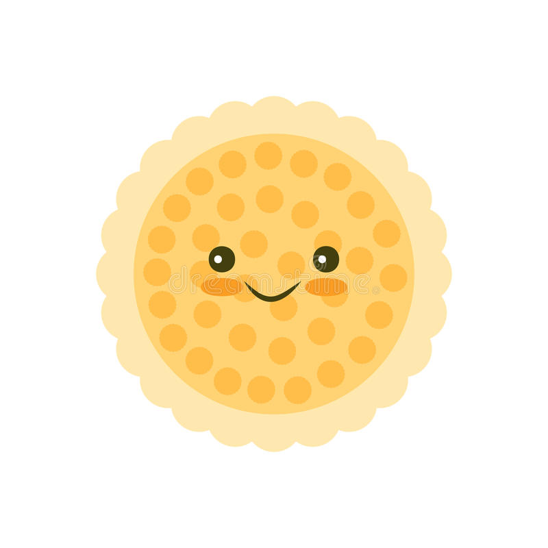 Chip cookie icon. Kawaii Chip cookie icon for food apps and websites stock illustration