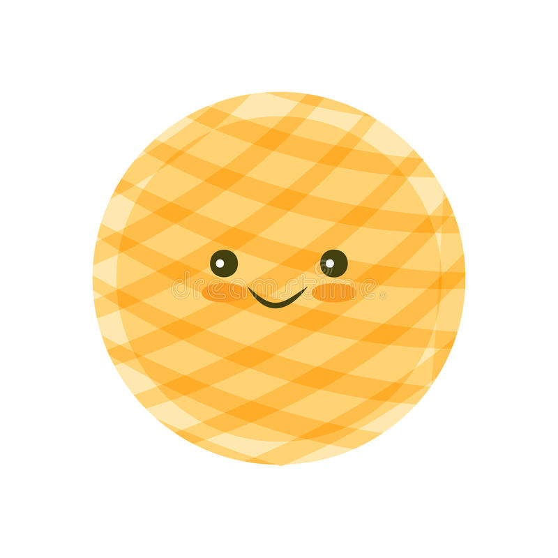 Chip cookie icon. Chip Kawaii cookie icon for food apps and websites royalty free illustration