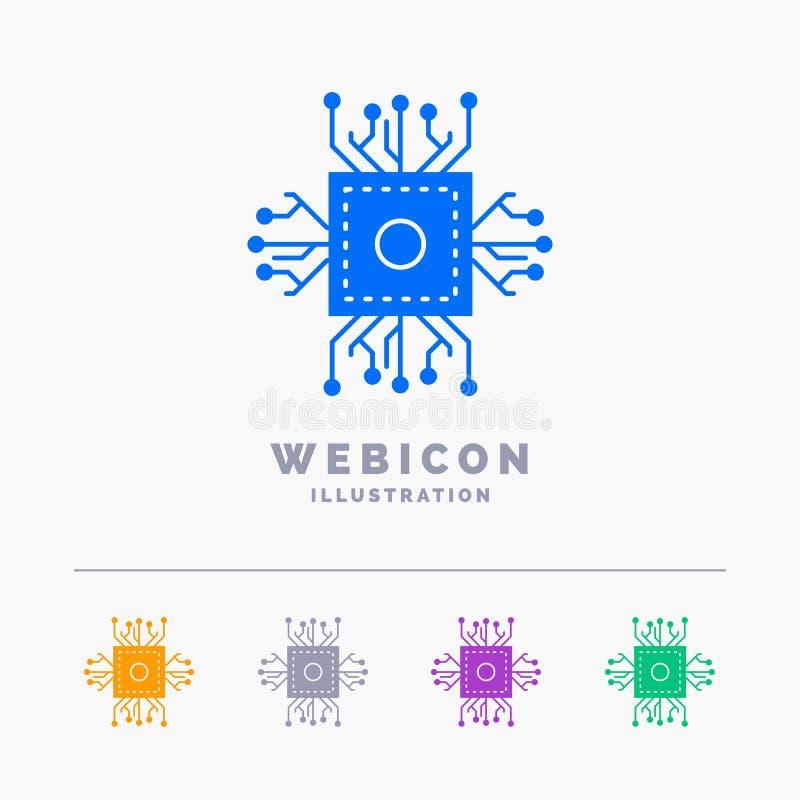 Chip CPU, mikrochips, processor, för färgskåra för teknologi som 5 mall för symbol för rengöringsduk isoleras på vit ocks? vektor stock illustrationer