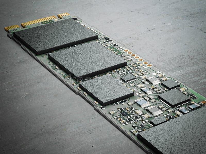 Chip de computador moderno rendição 3d foto de stock royalty free