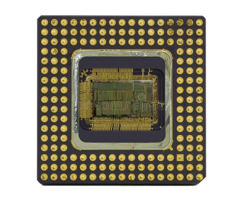 Chip de computador velho no branco imagem de stock royalty free
