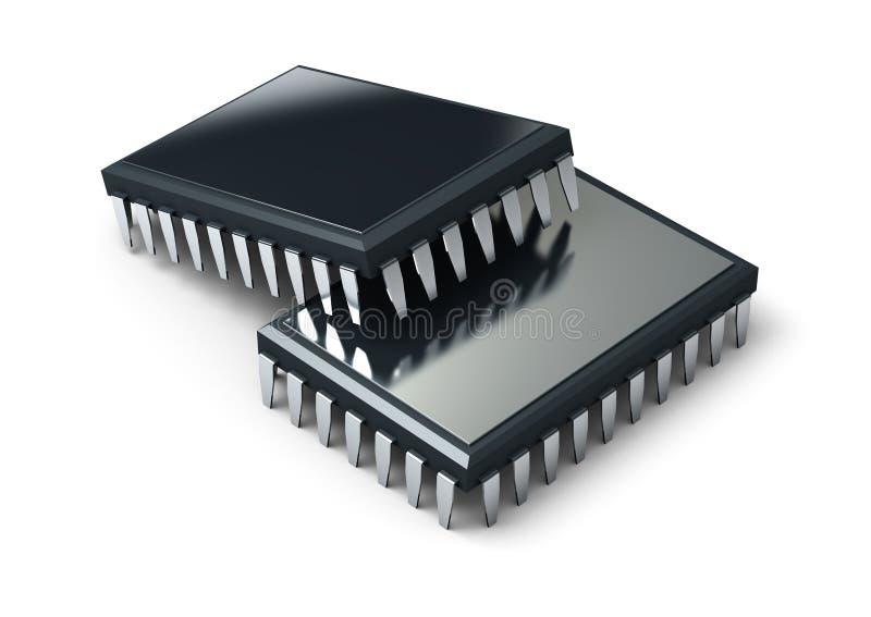 Chip de ordenador 3d rinden ilustración del vector