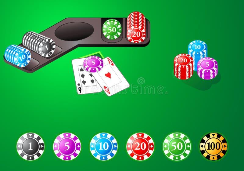Chip del casinò per i giochi di tabella illustrazione di stock