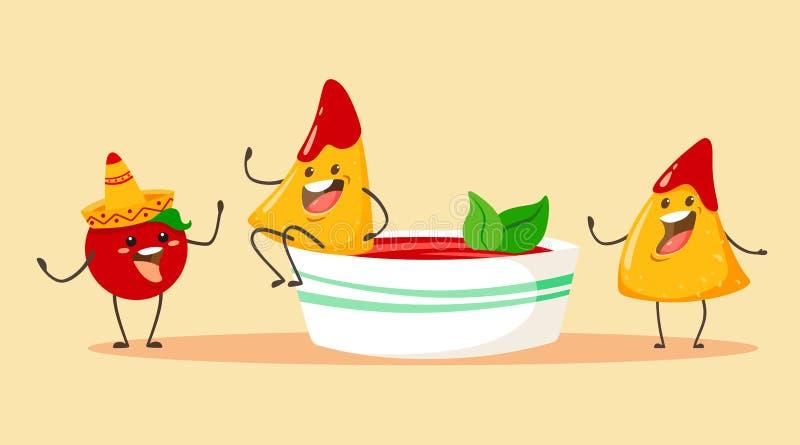 Chip del fumetto e divertenti dei nacho con il pomodoro e una tazza della salsa del pomodoro con basilico Illustrazione di vettor illustrazione di stock
