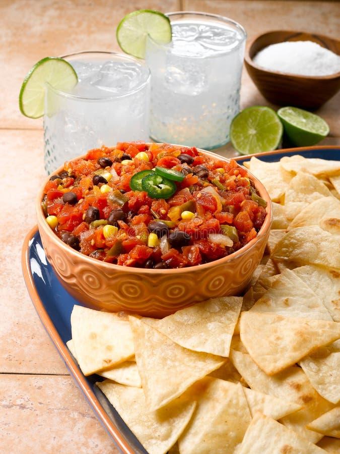 Chip della farina & della salsa fotografie stock libere da diritti