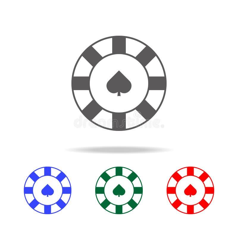 Chip in der Kasinoikone Elemente in den multi farbigen Ikonen für bewegliche Konzept und Netz apps Ikonen für Websitedesign und - lizenzfreie abbildung