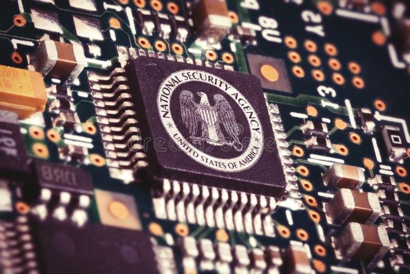 Chip di computer del NSA fotografie stock libere da diritti