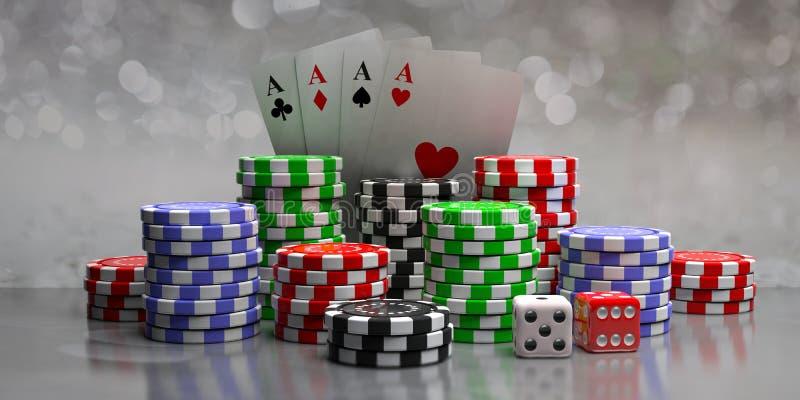 Chip di mazza, carte degli assi e dadi sul fondo astratto del bokeh, vista frontale illustrazione 3D illustrazione di stock