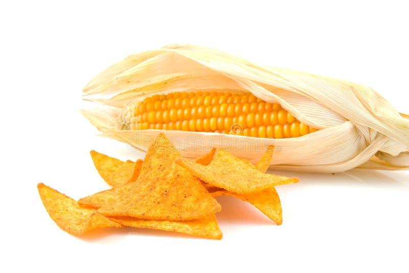 Chip di tortiglia con il cereale di mais immagine stock