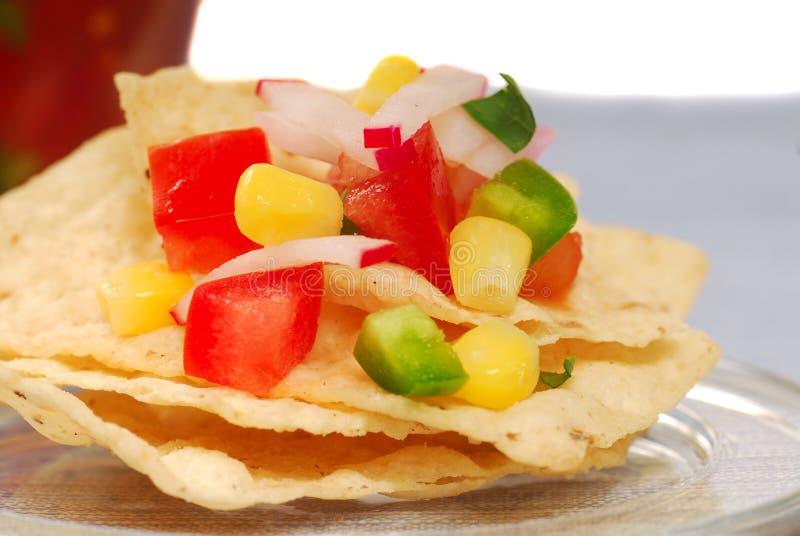 Chip di tortiglia con salsa fotografia stock libera da diritti
