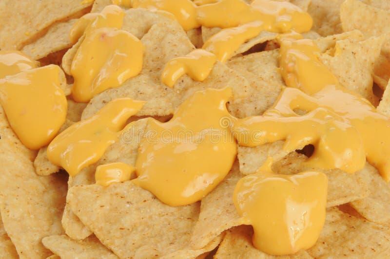 Chip di tortiglia e primo piano del formaggio fotografia stock