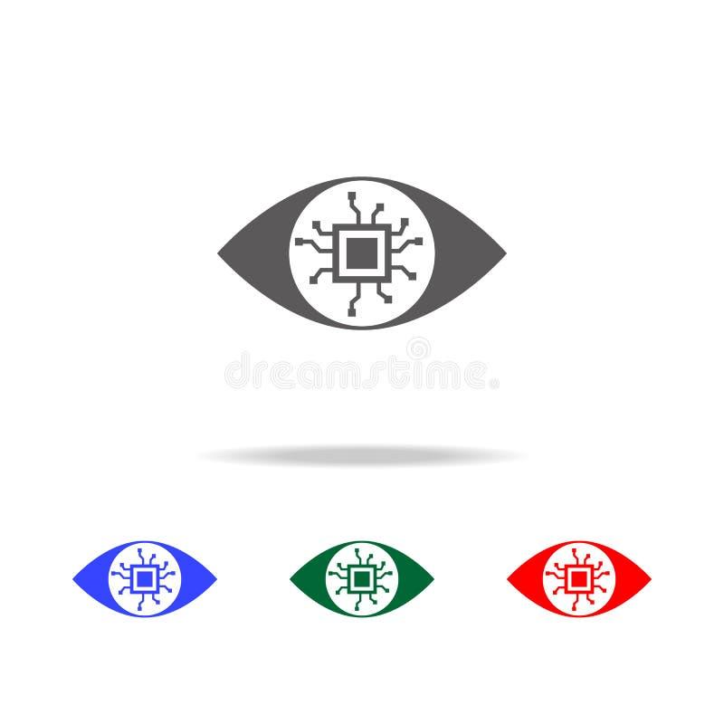 Chip Eye Lens rundete Ikone Elemente von multi farbigen Ikonen der Internetsicherheit Erstklassige Qualitätsgrafikdesignikone Ein vektor abbildung