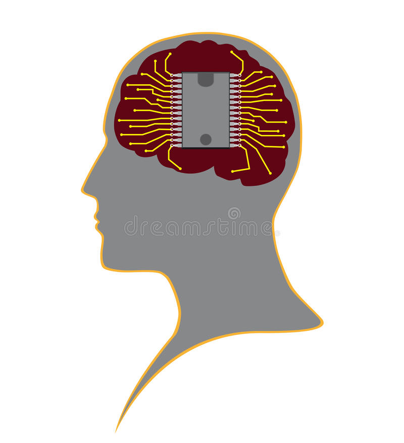 Chip in human head stock image