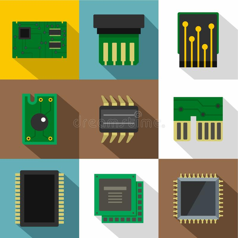 Chip icons set, flat style vector illustration