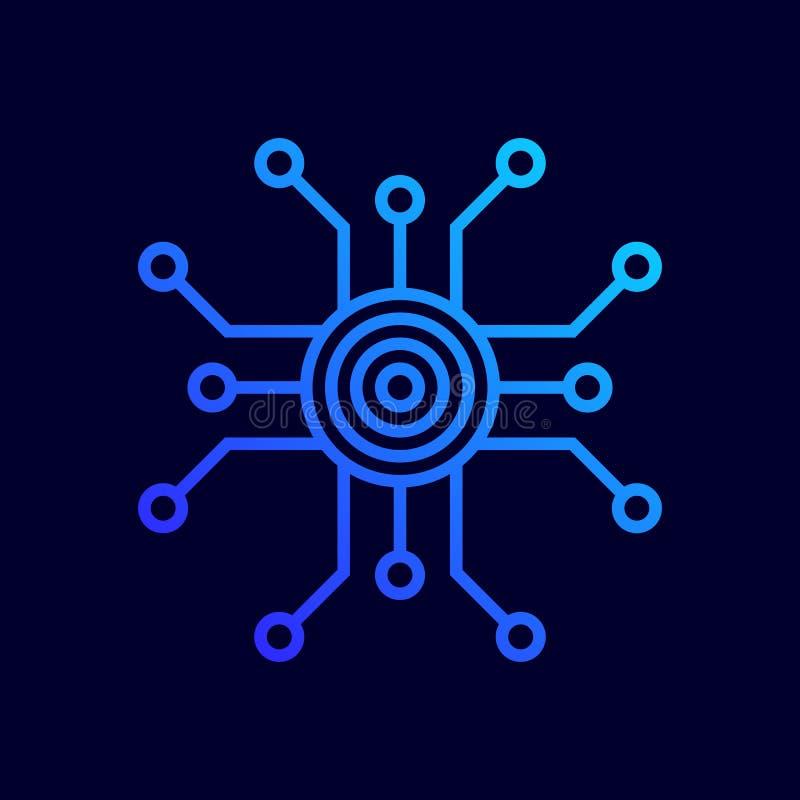 Chip Komputerowy ikona Wektorowa ilustracja w płaskim kreskowym stylu ilustracja wektor