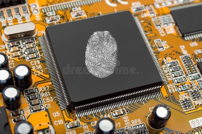 chip komputerowy odcisków palców. obraz royalty free
