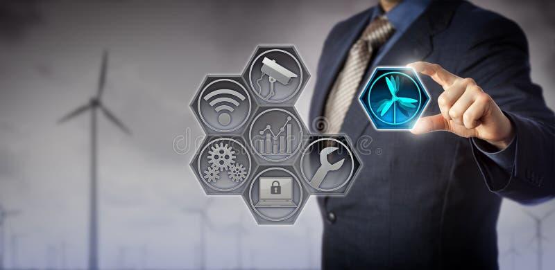 Chip Manager Operating Wind Farm azul através de IoT