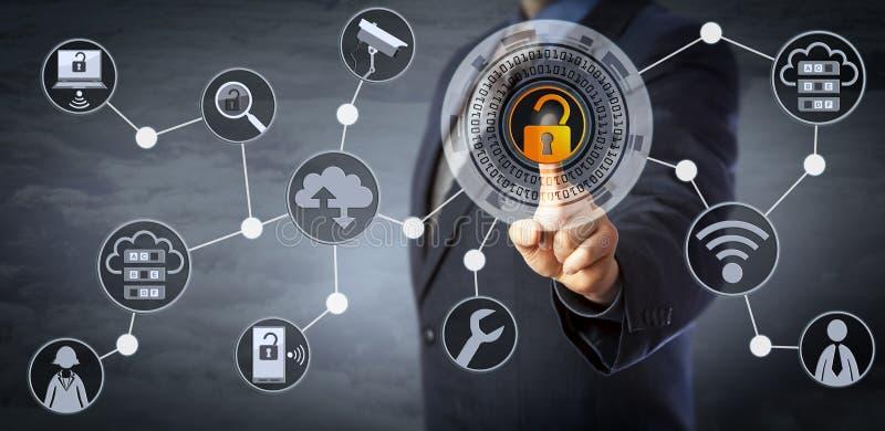 Chip Manager Unlocking Access Control blu fotografie stock