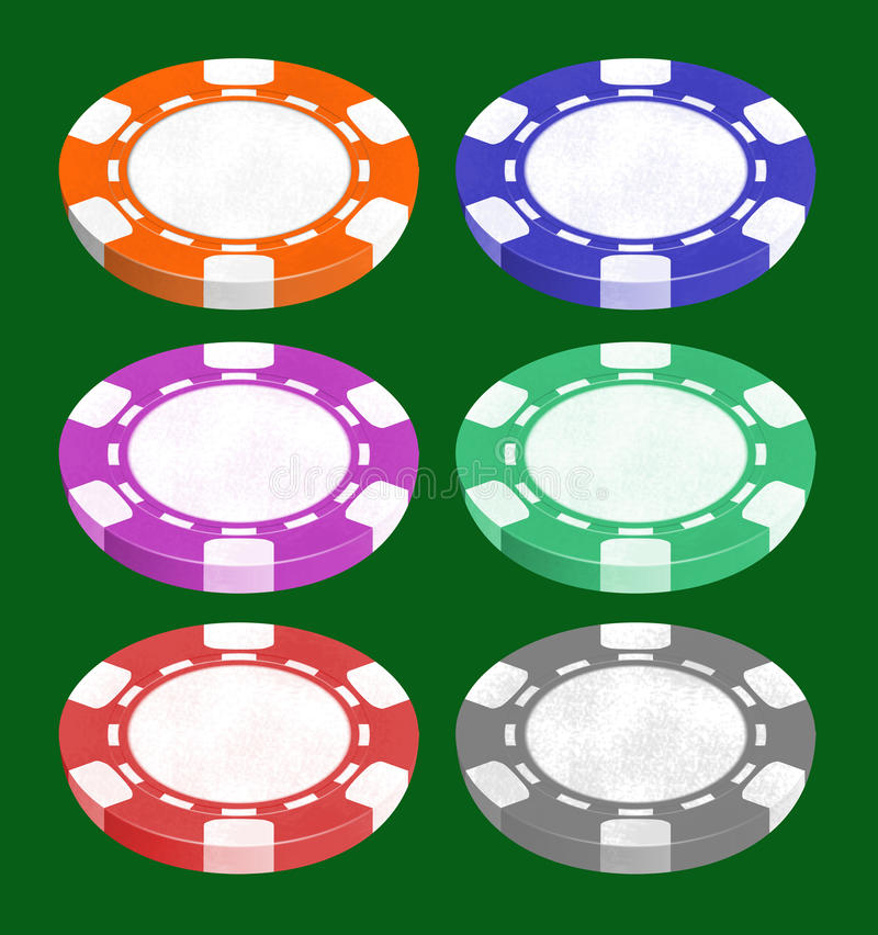 Chip per il gioco una mazza e delle roulette illustrazione di stock