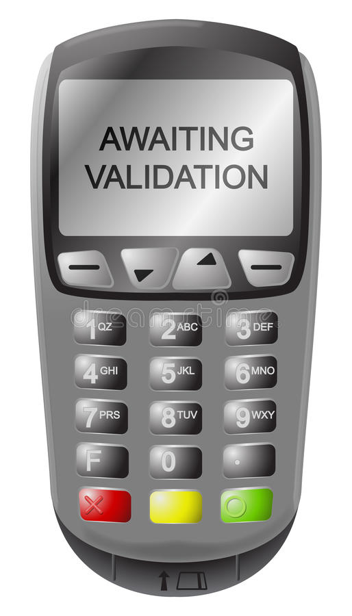 Chip And Pin Machine Awaiting Validation. A detailed chip and pin machine with text isolated on a white background stock illustration
