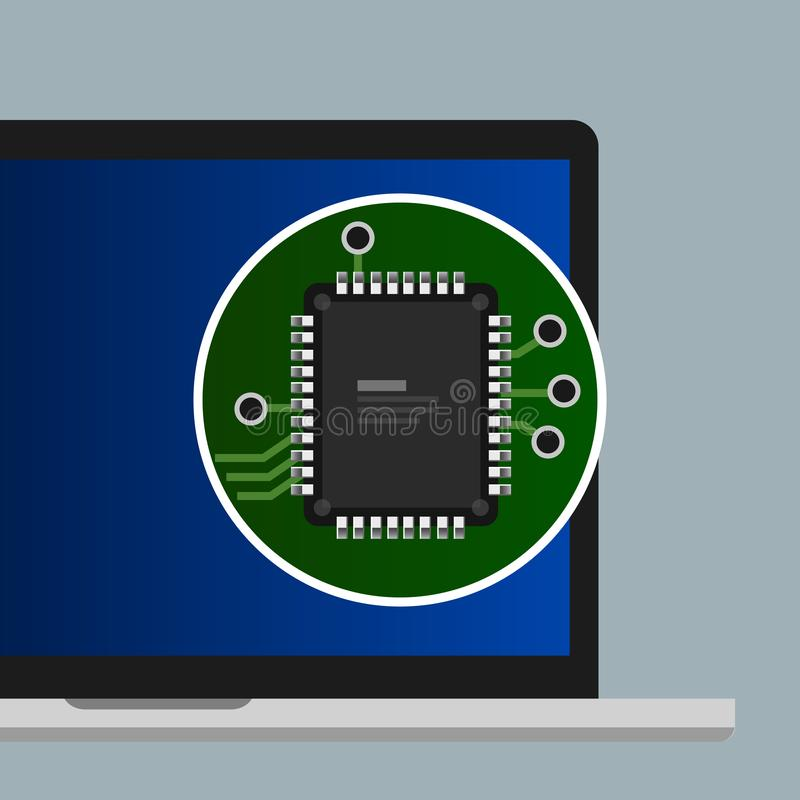 Chip processor CPU on laptop computer flat illustration concept. Electronic board component hardware vector. vector illustration