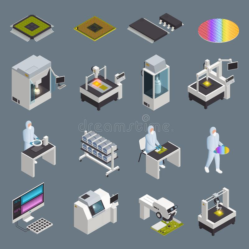 Chip Production Icon Set illustration stock