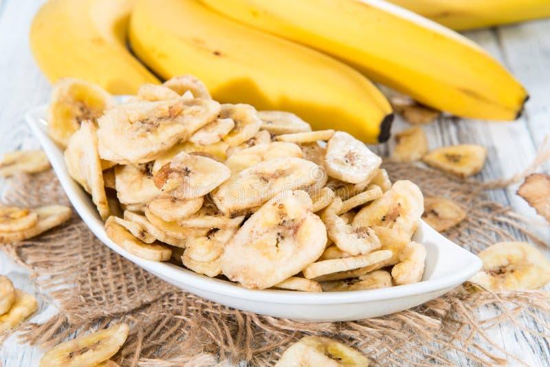 Chip secchi freschi della banana fotografie stock
