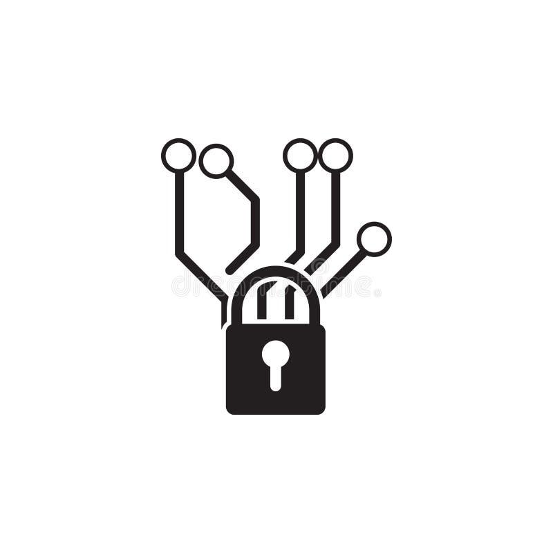 Chip- und Verschlussikone Elemente der Internetsicherheitsikone Erstklassiges Qualitätsgrafikdesign Zeichen und Symbolsammlungsik stock abbildung