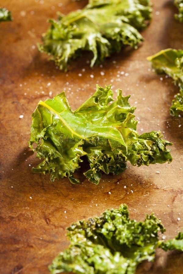 Chip verdi organici casalinghi del cavolo fotografia stock libera da diritti
