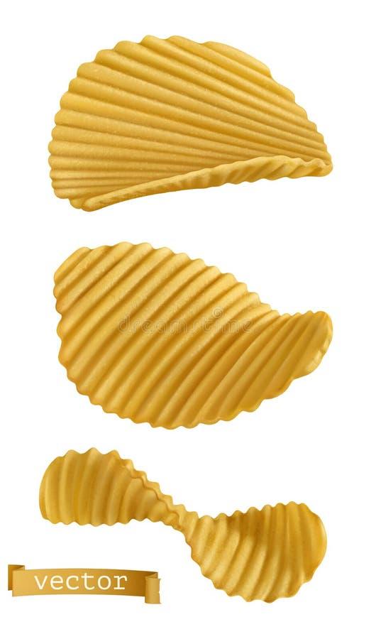 chip ziemniaka odosobnione white 3d ikony wektorowy set ilustracji
