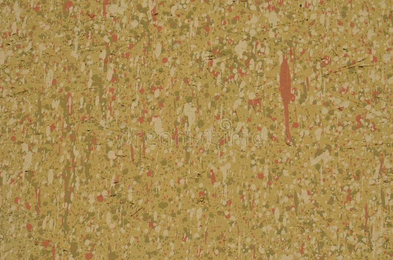 Chipboard full of leaking paint spots. Messy painted chipboard, with a lot of small leaked multicolored paint spots. Background for design royalty free stock photography