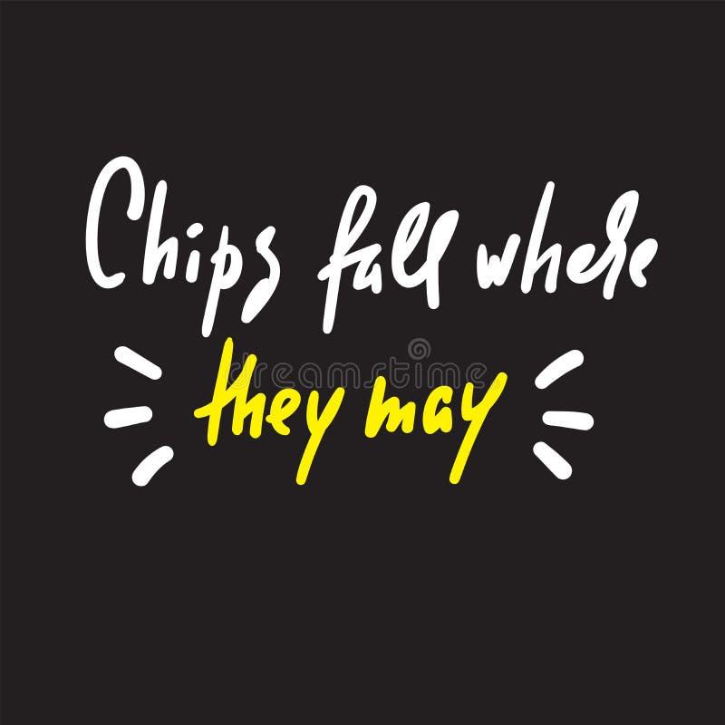 Chiper faller, var de kan - för att inspirera motivational citationstecken Hand dragen bokst?ver royaltyfri illustrationer