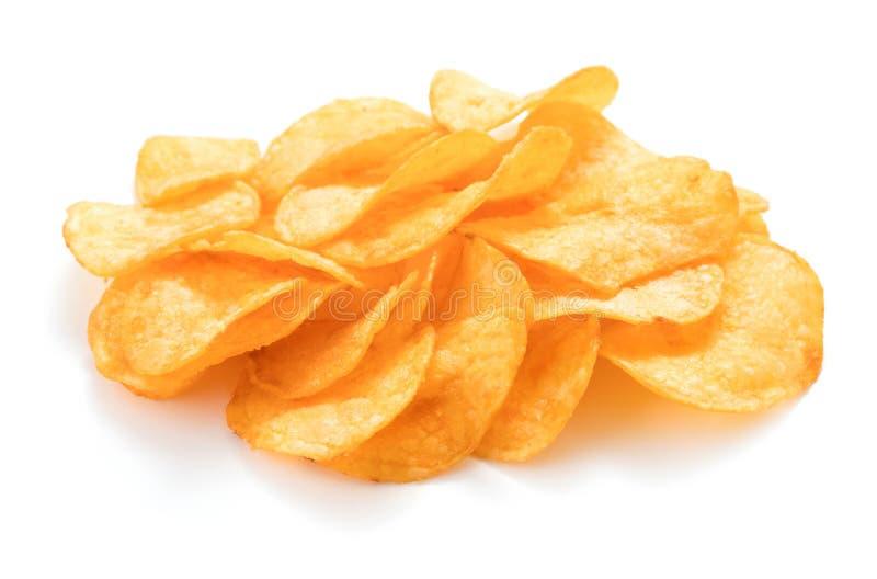 chiper isolerade potatisen royaltyfria bilder