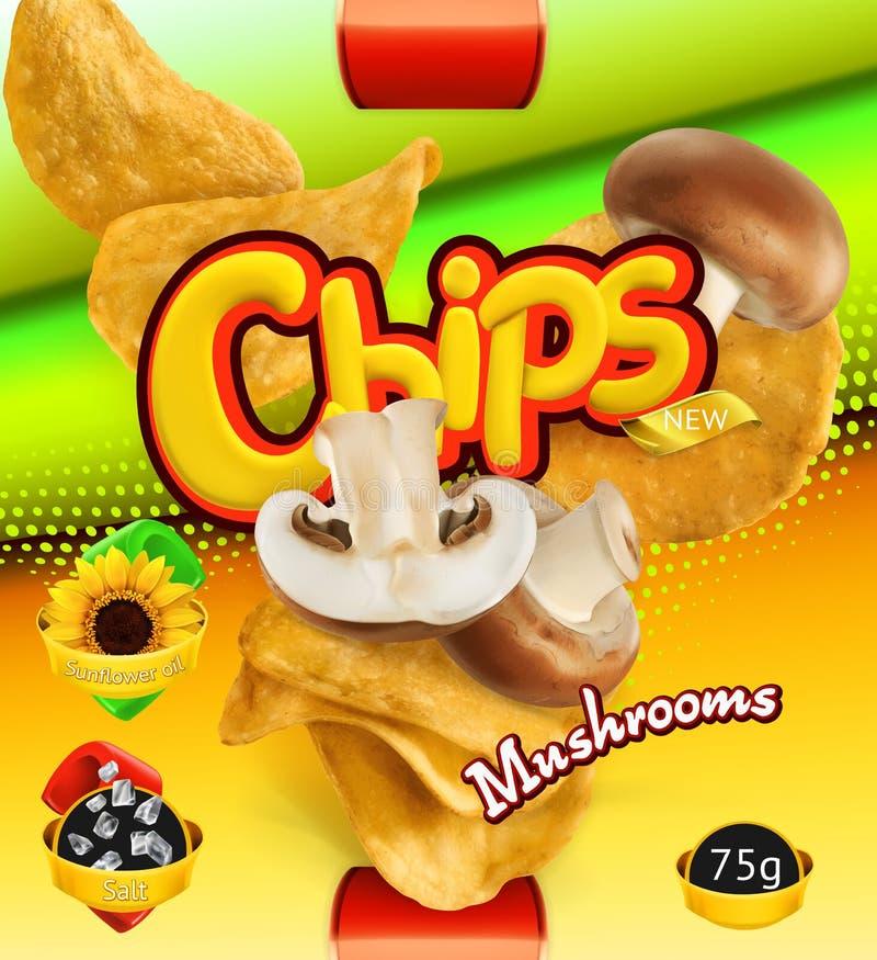 chiper isolerade potatiswhite Champinjonanstrykning Design som förpackar, vektormall stock illustrationer