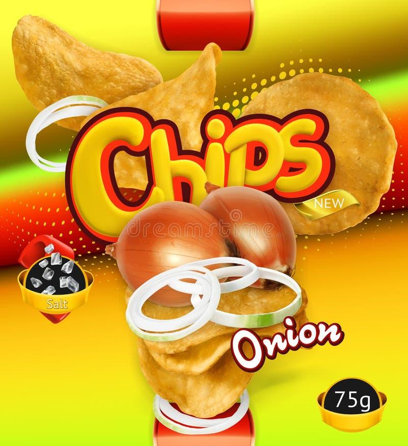 chiper isolerade potatiswhite Lökanstrykning Design som förpackar, vektormall stock illustrationer