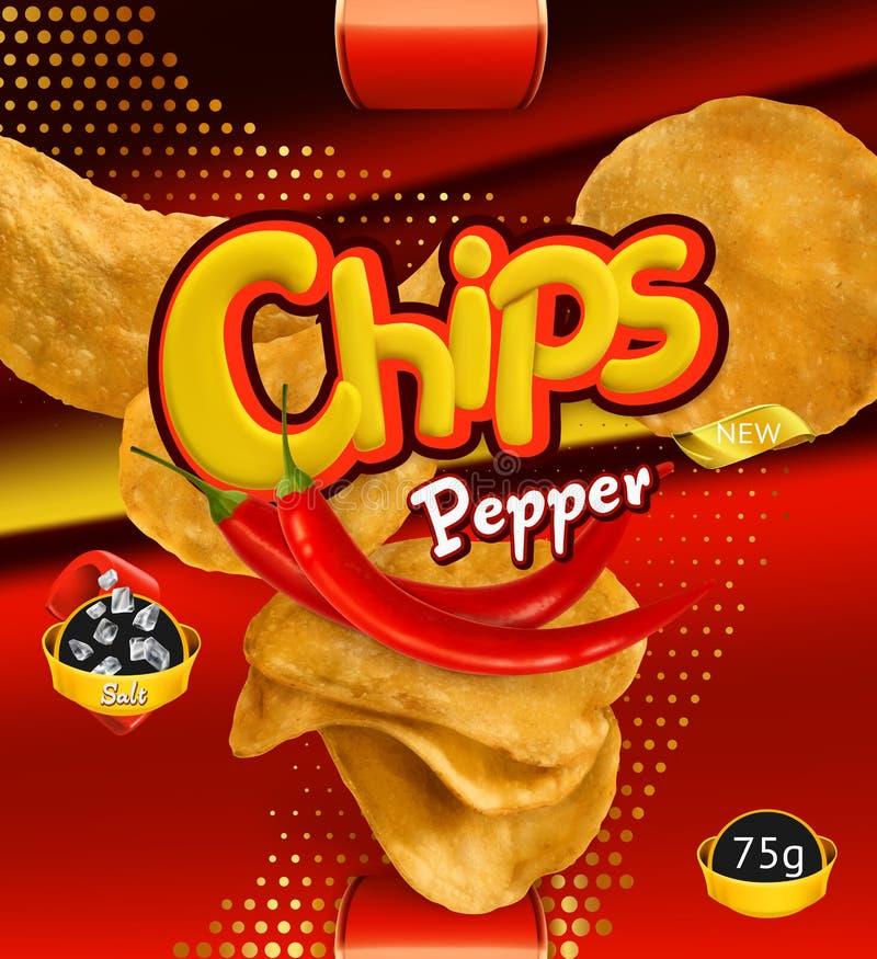 chiper isolerade potatiswhite Pepparanstrykning Design som förpackar, vektormall royaltyfri illustrationer